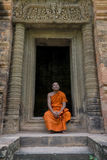 Buddhist monk in Angkor Wat, Cambodia Stock Images