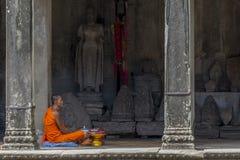Buddhist monk in Angkor Wat, Cambodia Stock Image