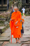 Buddhist monk at Angkor Wat Temple, UNESCO World Heritage, Siem Reap Province, Cambodia. September 3, 2015 Stock Photos