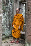 Buddhist monk in Bayon temple, Cambodia Royalty Free Stock Photos