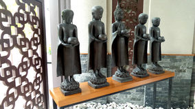 Buddhist monk and buddha statues for decorate Royalty Free Stock Photos