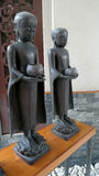 Buddhist monk and buddha statues for decorate Stock Photo