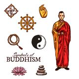 Buddhist monk and buddhism religion holy symbols. Symbols of Buddhism monk, dharma wheel, rosary and yin-yang sign, lotus flower and pyramid of stones, sketch stock illustration