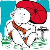 Buddhist monk. stock illustration
