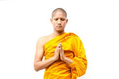 Buddhist monk, Buddhist monk give a sermon to peop. Le with isolate Stock Photo