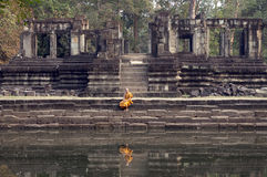 Buddhist Monk at The Buophon in Angkor Thom Stock Image