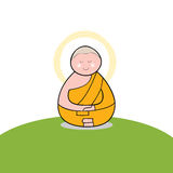 Buddhist monk cartoon hand drawn Royalty Free Stock Image