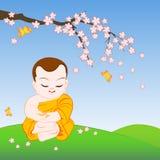 Buddhist Monk cartoon Stock Image