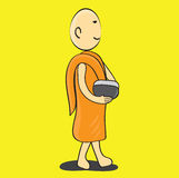 Buddhist Monk cartoon vector illustration Royalty Free Stock Images