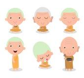 Buddhist Monk Character, Buddhist Monk cartoon, Monk set, Thai monks,Chinese monks, monk sitting peacefully in meditation,Chinese Stock Image