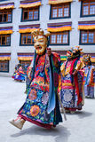 Buddhist monk dancing Cham mystery in Lamayuru, India Royalty Free Stock Images