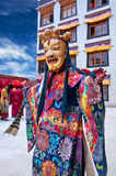 Buddhist monk dancing Cham mystery in Lamayuru, India Stock Images