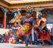 Buddhist monk dancing at mask festival stock photos