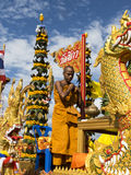 Buddhist monk on a decorated float, Trang, Thailand Royalty Free Stock Images