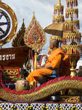 Buddhist monk on a decorated float, Trang, Thailand Royalty Free Stock Photos