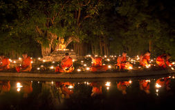 Buddhist monk fire candles Royalty Free Stock Images