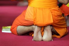 Buddhist monk foot Royalty Free Stock Photos