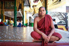 Buddhist monk at the full moon festival Royalty Free Stock Photos
