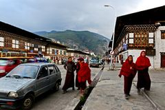 Buddhist Monk. A group of Buddhist monk walking on the Paro city of Bhutan Royalty Free Stock Images