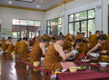 The buddhist monk have breakfast given by people who want to mak Royalty Free Stock Photos
