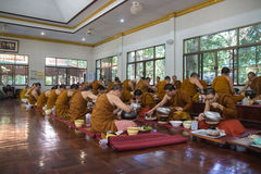 The buddhist monk have breakfast given by people who want to mak Royalty Free Stock Photo