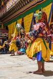 Bhutan Buddhist monk dance at Paro Bhutan Festival royalty free stock images