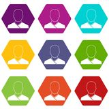 Buddhist monk icon set color hexahedron Royalty Free Stock Photo