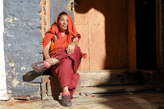 Buddhist monk at the Jakar Dzong, Jakar, Bhutan Royalty Free Stock Photography
