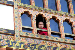Buddhist monk at the Kurjey Lhakhang, Bhutan Royalty Free Stock Image