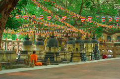 Buddhist monk  at Mahabodhi temple Stock Photo