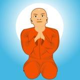 Buddhist monk meditating Royalty Free Stock Photography