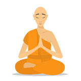 Buddhist monk meditating isolated. Cartoon design. Rraditional religious monk in orange theravada. flat vector illustration. monk person icon Stock Image