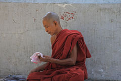Buddhist Monk. A Buddhist monk at a monastery in Myanmar Feb 2015 No model release Editorial use only Royalty Free Stock Photo