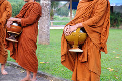 Buddhist monk on morning Royalty Free Stock Images