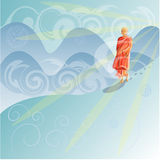 Buddhist monk in the mountains Stock Image