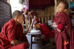 Buddhist monk and novice, Myanmar Stock Images