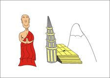 Buddhist monk. With a partition of a temple, stairs and a mountain in the background Stock Photography