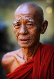 Buddhist monk. Portrait of an old Burmese Buddhist monk in Mandalay, Myanmar stock photos