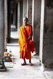 Buddhist monk posing for picture stock photography