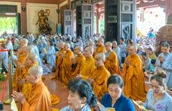Buddhist monk praying Buddha in Buddha`s birthday royalty free stock photography