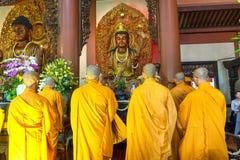 Free Buddhist Monk Praying Buddha In Buddha`s Birthday Stock Image - 121189731