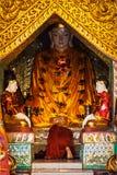 Buddhist monk praying in Shwedagon pagoda Royalty Free Stock Photography