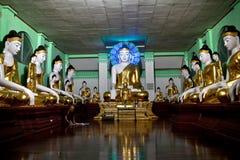 Buddhist Monk praying at Shwedagon Paya, Myanmar Stock Photos