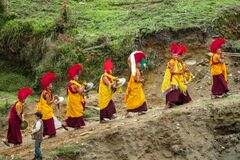 Free Buddhist Monk Procession At Ceremony Of Buddha Annivewrsary Celebration In Nepal Temple Royalty Free Stock Photos - 199612668