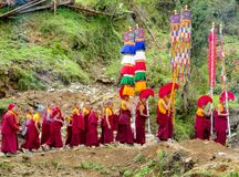 Buddhist monk procession at ceremony of Buddha annivewrsary celebration in Nepal temple