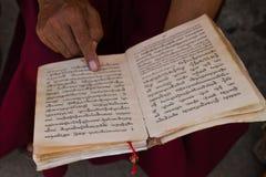 Buddhist monk reads, Kathmandu Nepal Royalty Free Stock Image