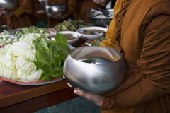 Buddhist monk's alms bowl. In Thailand stock photo