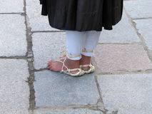 Buddhist monk's feet Stock Photo
