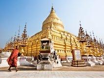 Buddhist Monk at Shwezigon Pagoda, Bagan, Myanmar Royalty Free Stock Photography