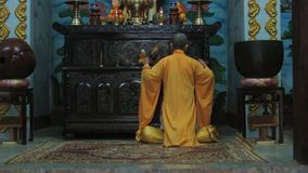 Buddhist monk singing incantations stock video